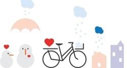 Värikäs piirroskuva, jossa on polkupyörä, lumiukkoja, lumisadetta ja kerrostaloja
