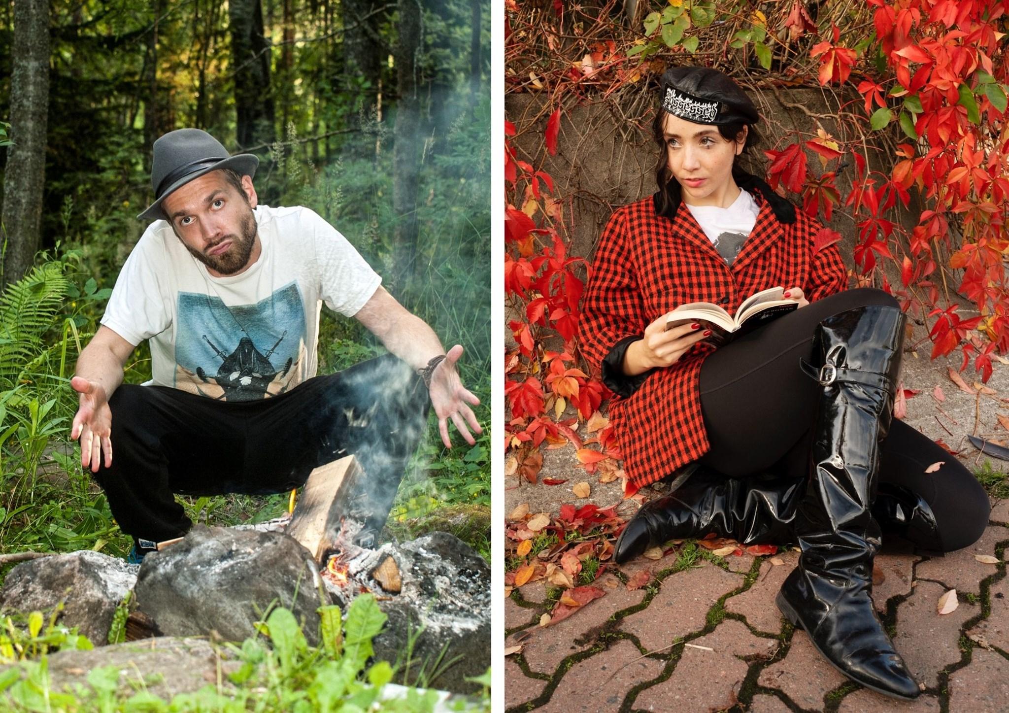 Kuvissa Juho Kuusi metsässä ja Elsa Tölli istumassa pensaan edessä, jossa on punaiset lehdet