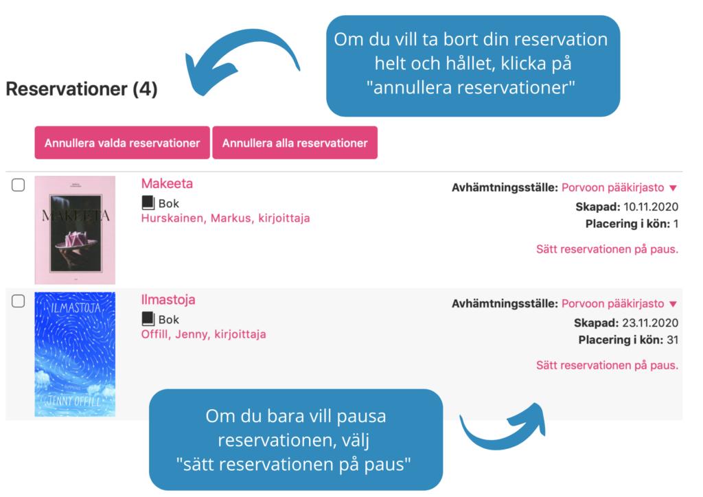 Hur pausar eller avbryter man reservation